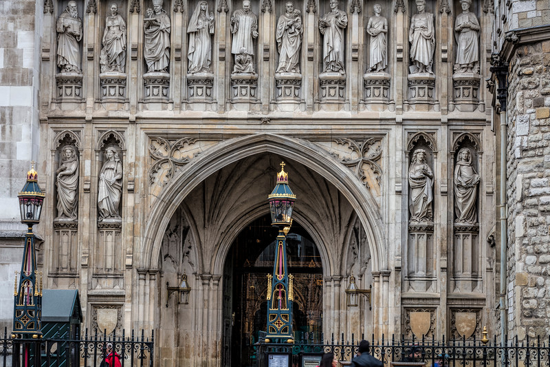 Statues near one of the doors at Westminster Abbey