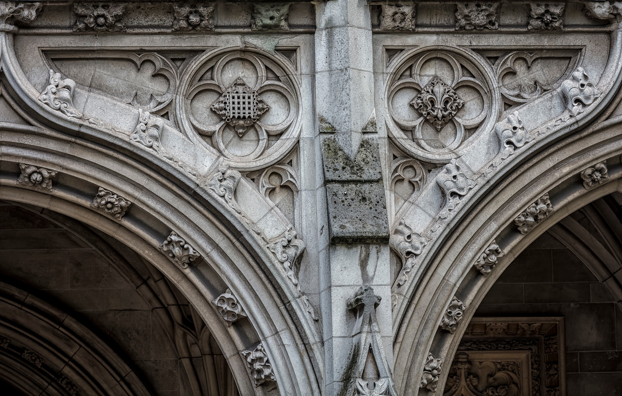Close up of architecture at St Margaret's Church in Westminster London