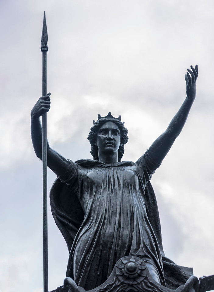 Close up of Queen Boadicea statue on Westminster Bridge in London
