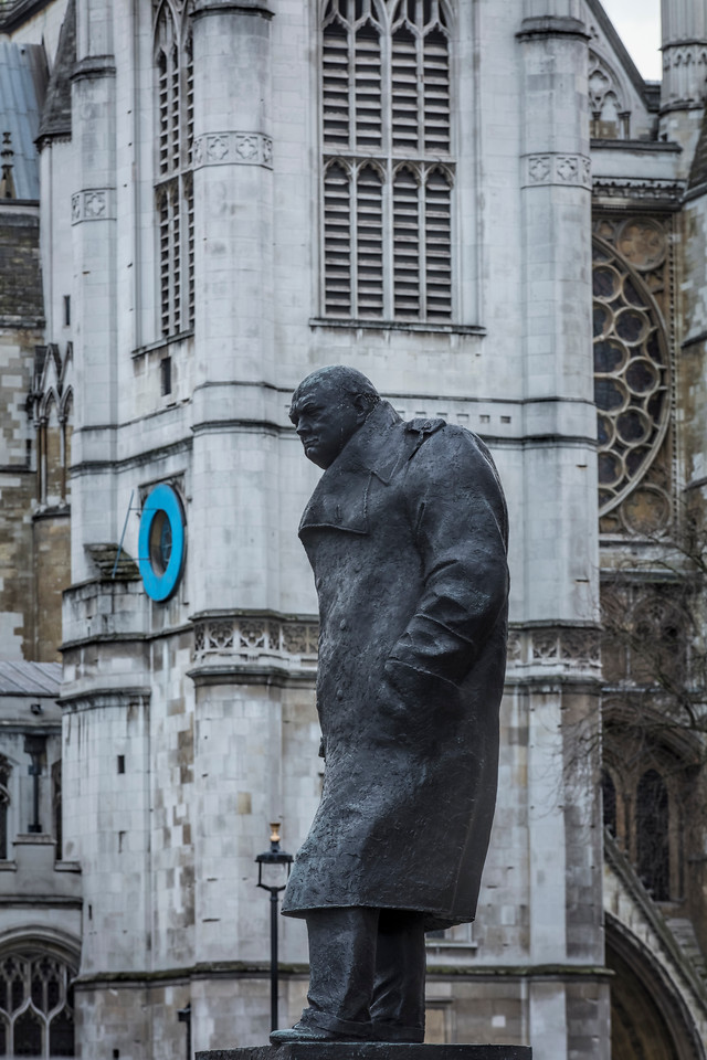 Statue of Sir Winston Churchill in Parliament Square in Westminster London in front of St Margaret's Church