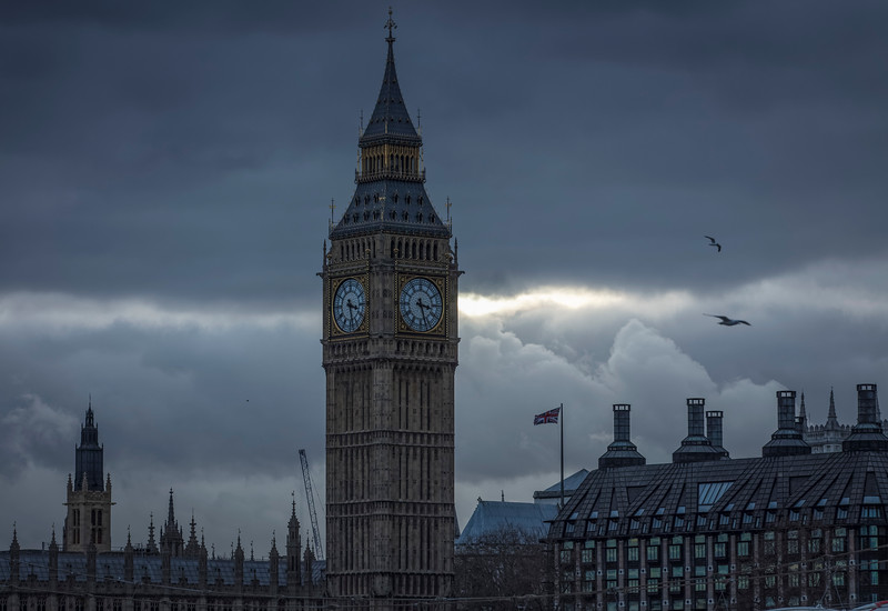 Big Ben and Trident House at Westminster, London