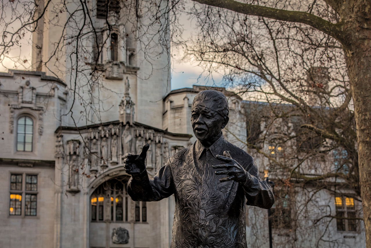 Statue of Nelson Mandela in Parliament Square in Westminster London