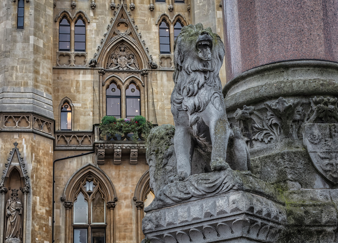 Lion on fountain in front of Westminster School in London