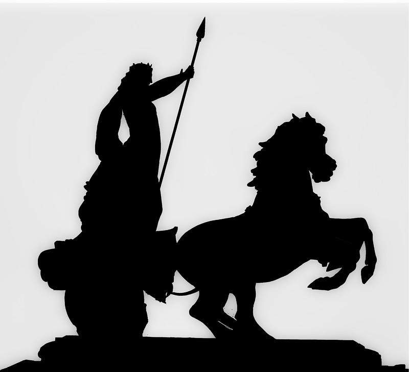 Silhouette of Queen Boadicea Statue in Westminster London
