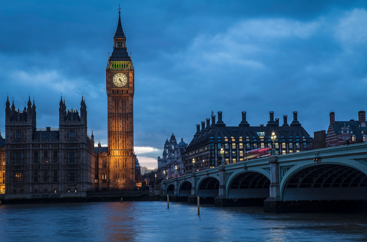 View of Big Ben and Westminster Bridge from the South Bank