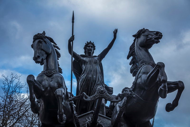 Queen Boadicea and Chariot statue on Westminster Bridge in London