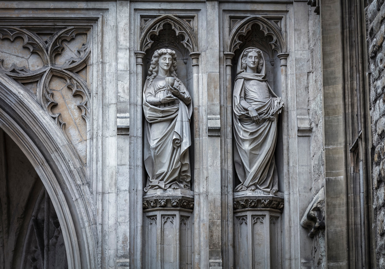 Statues on the wall at Westminster Abbey in London