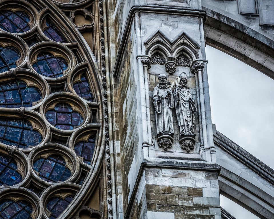Close up of statues at Westminster Abbey in London