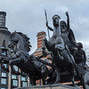 Queen Boadicea statue on Westminster Bridge in front of Trident House in London