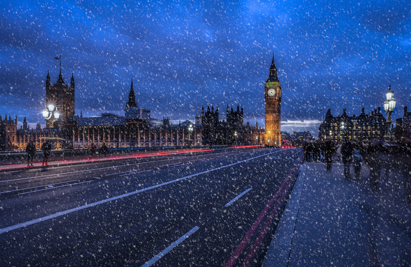 Blizzard on Westminster Bridge in London
