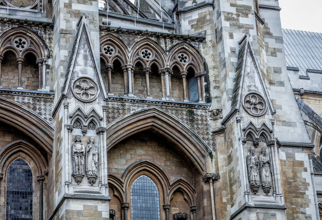 Facade of the front of Westminster Abbey