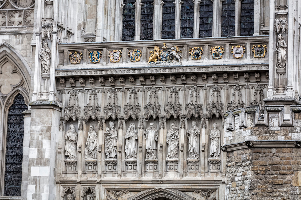 Statues on the wall of Westminster Abbey in London