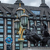 Queen Boadicea statue in front of Westminster River Pier and Trident House in London at Westminster Bridge