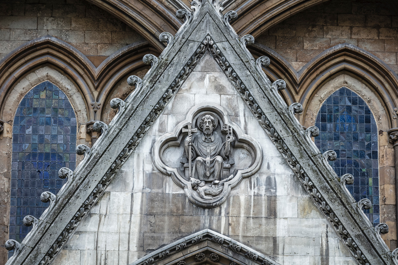 Close up of part of Westminster Abbey in London