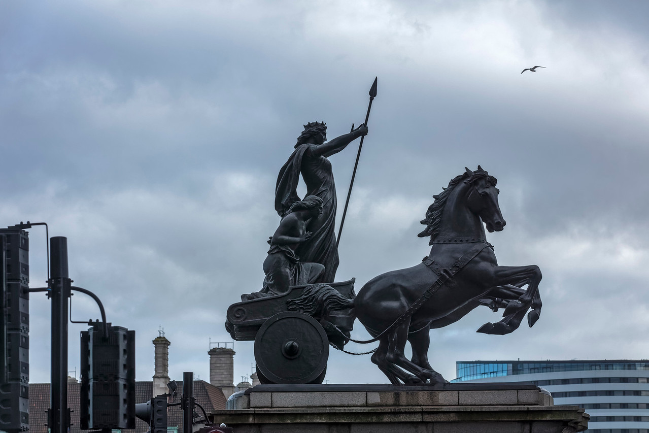 Queen Boadicea statue on Westminster Bridge looking towards the South Bank of the River Thames