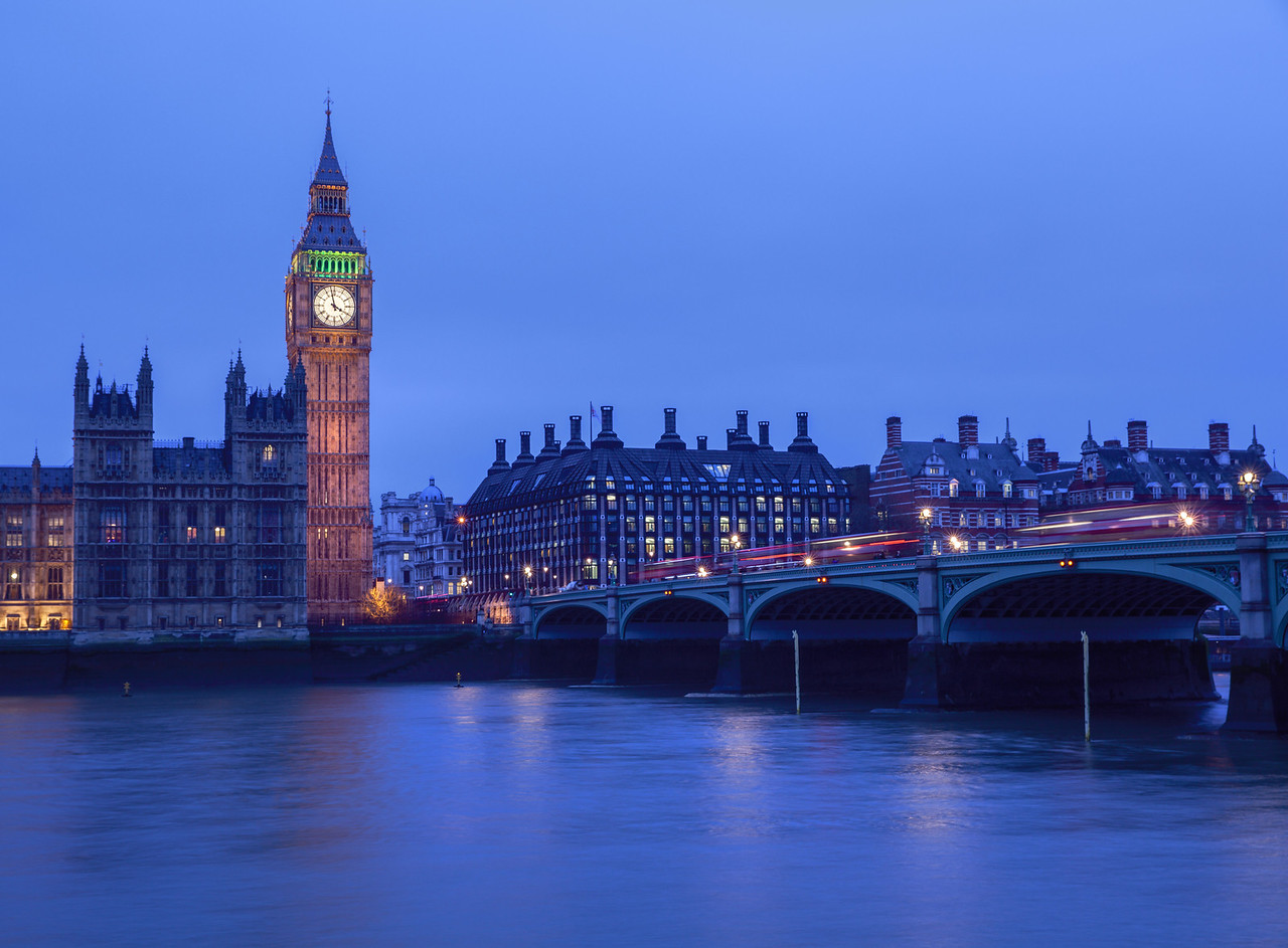 Red London Buses on Westminster Bridge
