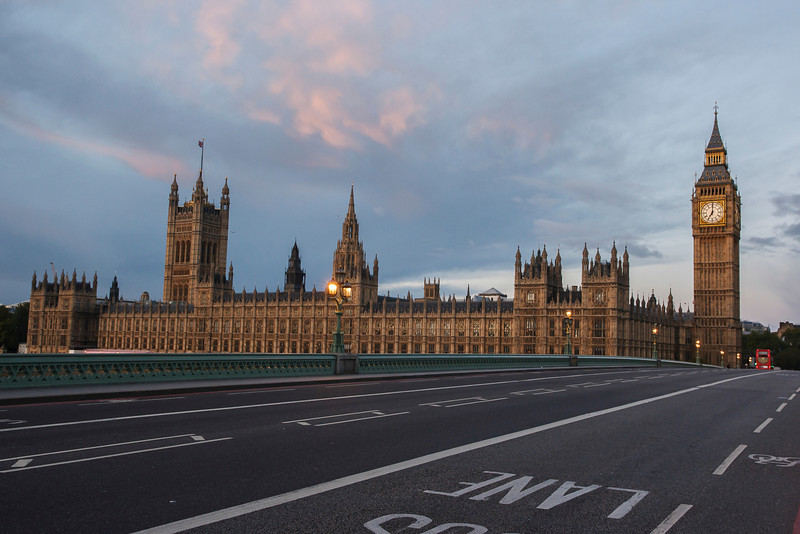Westminster Bridge, the Houses of Parliament and Big Ben in London, England