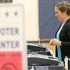 Jessica Heffernan is all smiles after putting her ballot into the ballot box at the polls in Westminster on Tuesday afternoon. SENTINEL & ENTERPRRISE/JOHN LOVE