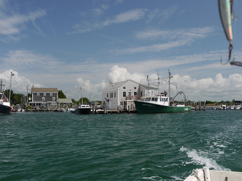 Westport Harbor.  The former Lee's Wharf building is now a residence (behind green fishing boat).  Photo for the Don Allen family, who couldn't be here this year.