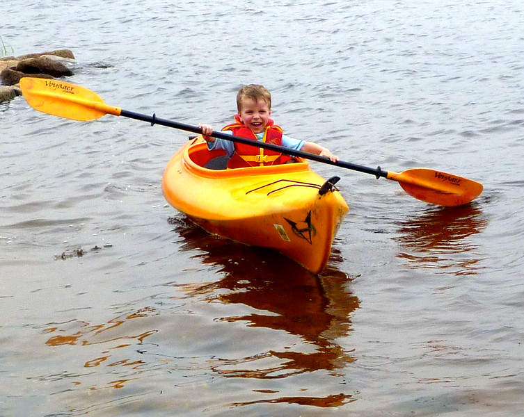 Happy Michael, paddling.