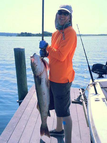 Seth caught a very big striper!