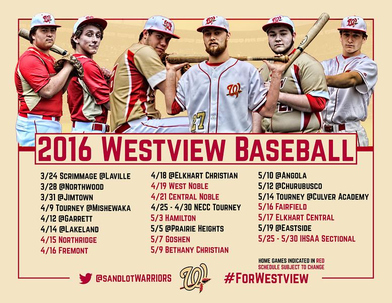 """2016 Baseball Schedule Poster - 11"""" x 8.5"""" (Standard Printer Paper)"""