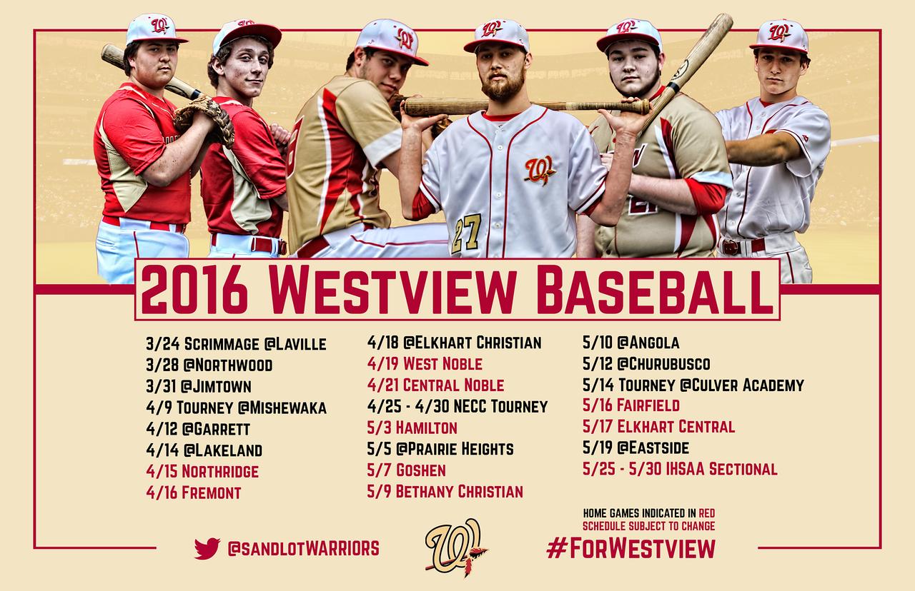 "2016 Baseball Schedule Poster - 17"" x 11"""