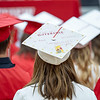 """A Westview Class of 2021 wrote """"It makes such a difference to have someone who believes in you"""" on her cap before Friday's commencement ceremony at Westview Jr./Sr. High School."""