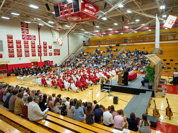 Mr. Eric Yordy delivers senior recognitions to the Westview Class of 2021 during Friday's commencement ceremony at Westview Jr./Sr. High School in Topeka. 86 students in total graduated this year.