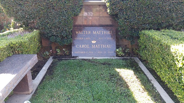 Walter Matthau was one half of the Odd Couple along with Jack Lemmon who resides here nearby but we couldnt see his grave due to a funeral being held near his plot.