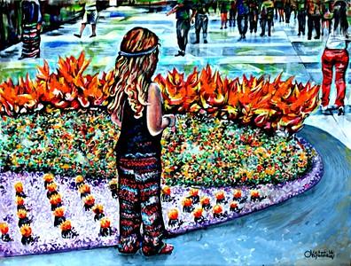 """Flowers in Santa Monica"" (acrylic on cardboard) by Victor Ovsyannikov"