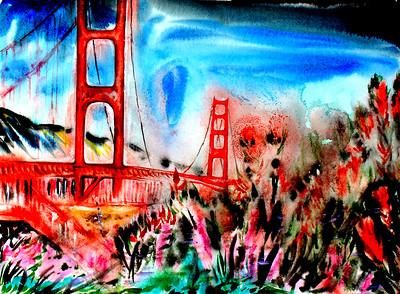 """Golden Gate San Francisco"" (acrylic on cardboard) by Victor Ovsyannikov"