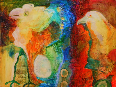 """Of Faces and Feathers"" (mixed media) by Lynn Chatman"