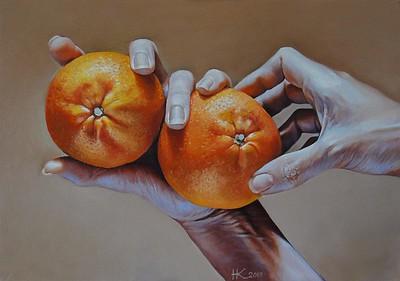 """Tangerines"" (oil) by Nadezhda Potapova"