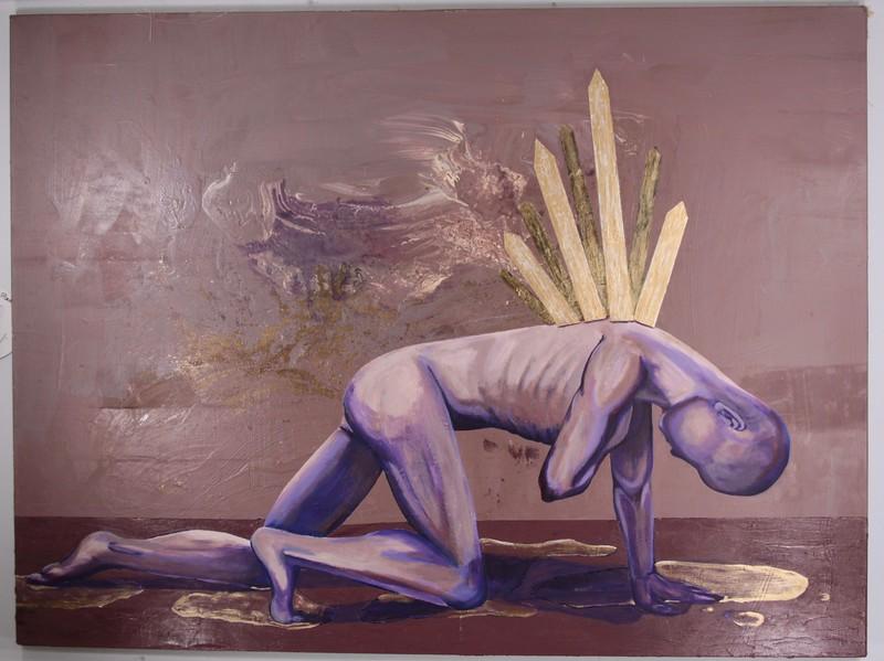 """Landmark"" (acrylic and house paint) by Adea Guldi"