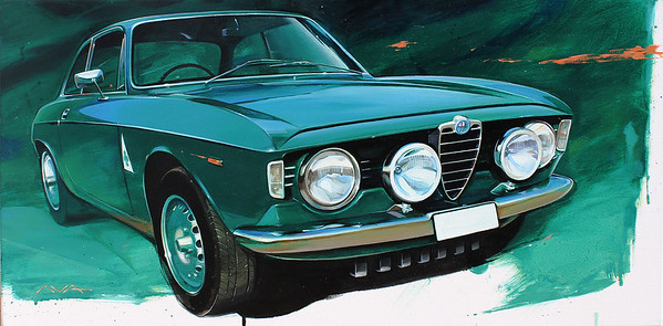 """Alfa romeo Giulia GT"" (oil on canvas) by Ilia Avakov"