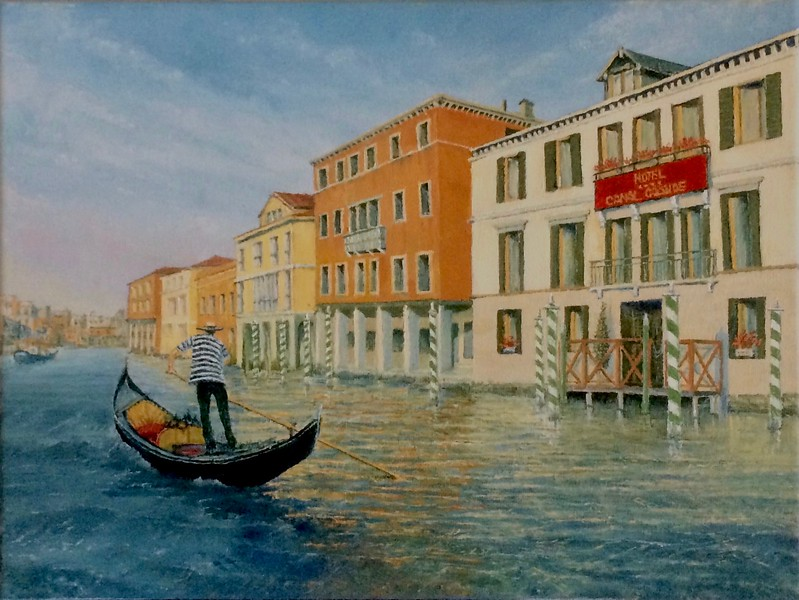 """""""The Gondolier"""" (oil on stretched canvas) by Louis Degni"""