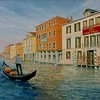 """The Gondolier"" (oil on stretched canvas) by Louis Degni"