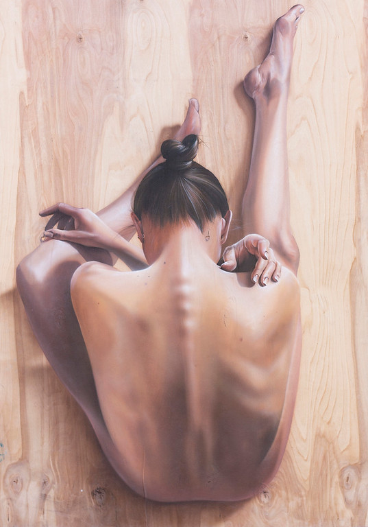 """Back. Folded."" (airbrush on wood panel) by Ivan Ilyuschenko"