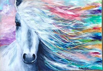 """Rainbow Horse"" (acrylic) by Nicole Carothers"