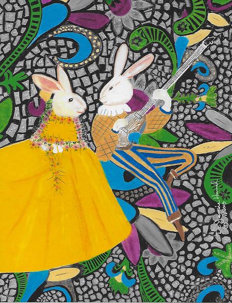 """Bunny Serenade"" (colored pencil) by Dr Jessie Hummel"