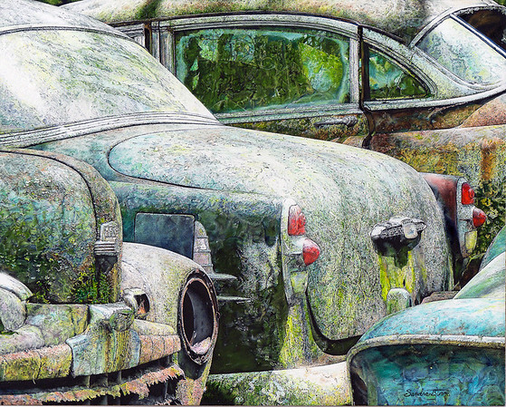 """Parked"" (oil) by Sandra Burm"