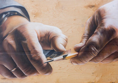 """Artist`s hands"" (airbrush on wood panel) by Ivan Ilyuschenko"