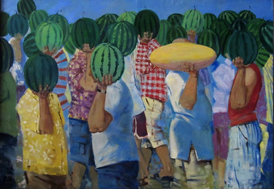 """Melon crowd"" (oil on canvas) by Daria Riabinina"