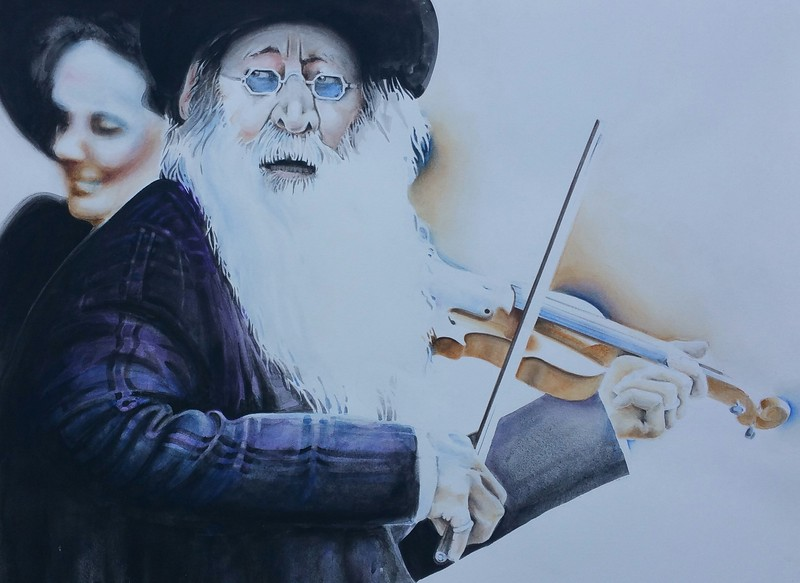 """STREET FIDDLER"" (watercolor) by Telagio Baptista"