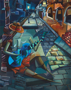 """The Blue Guitar"" (oil on canvas) by Derwin Leiva"