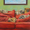 """Five Pugs on a Red Couch"" (oil on canvas) by Caleb Mathews"
