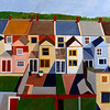 """Hampstead Backyards"" (acrylic on canvas) by Toni Silber-Delerive"