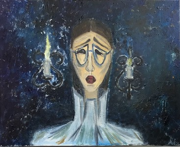 """In blue room"" (oil on canvas) by Alika Magomeddibirova"