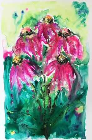 """""""In The Garden"""" (watercolor) by Amy Goolkasian"""